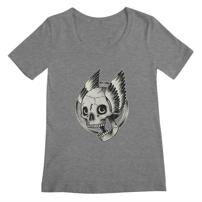 Skull Wings Women's Scoopneck by blackboxshop's Artist Shop