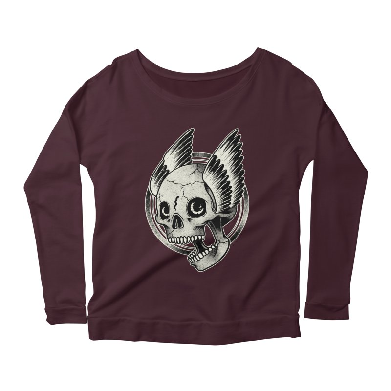 Skull Wings Women's Longsleeve Scoopneck  by blackboxshop's Artist Shop