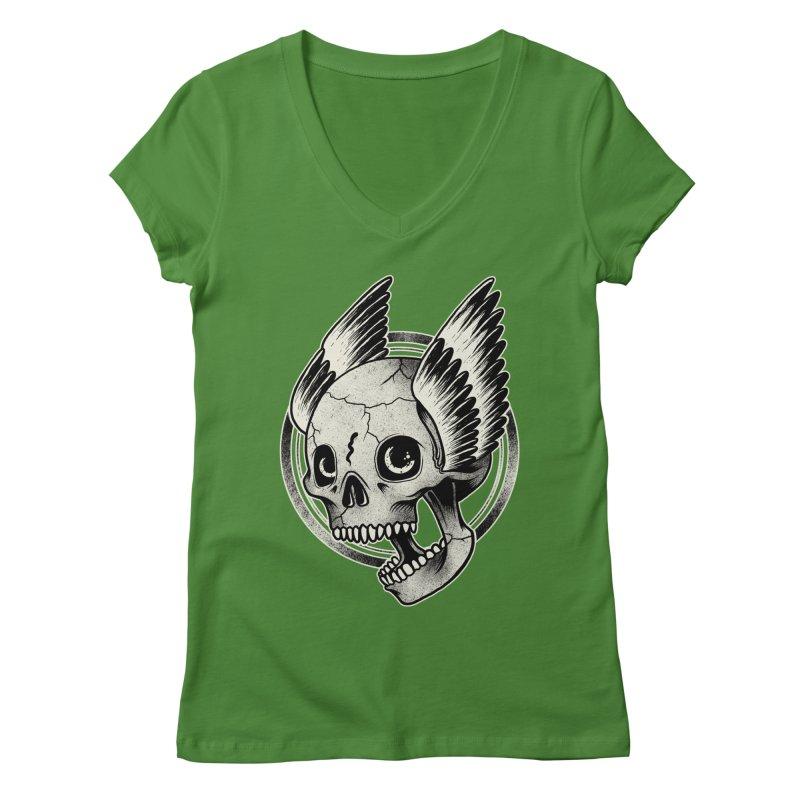 Skull Wings Women's V-Neck by blackboxshop's Artist Shop