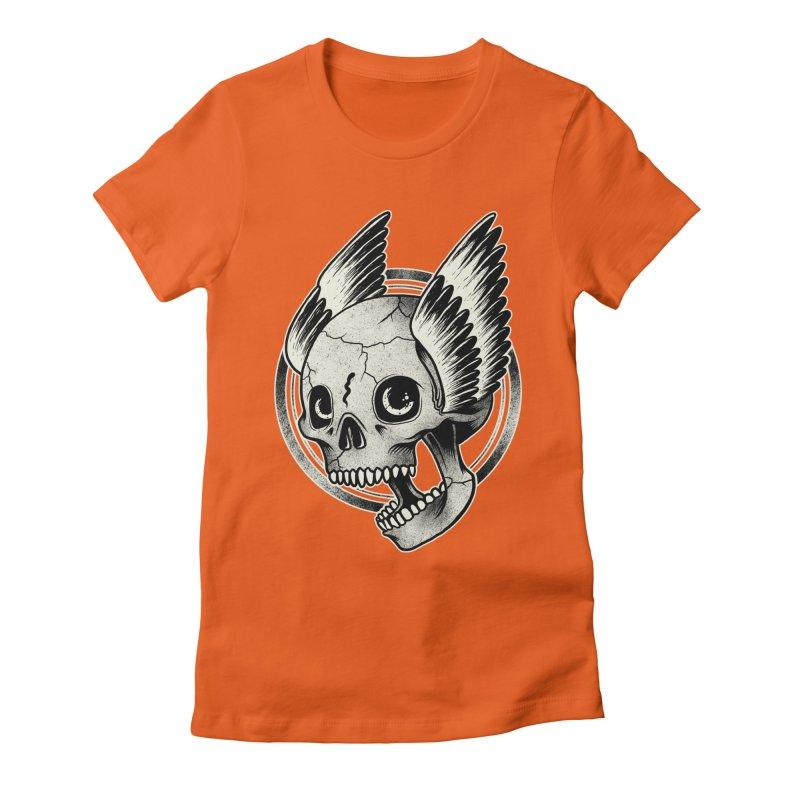 Skull Wings Women's Fitted T-Shirt by blackboxshop's Artist Shop