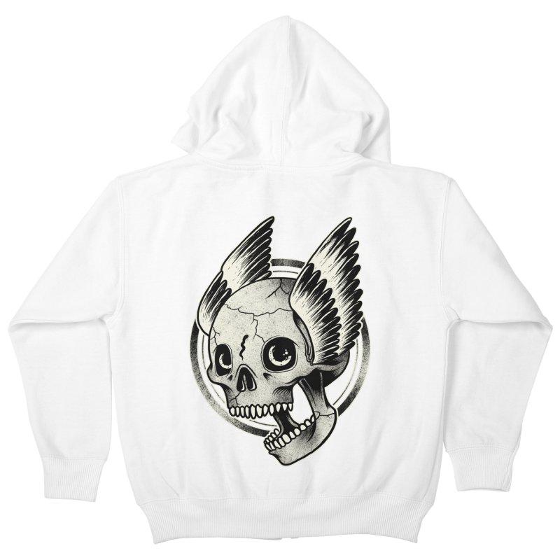 Skull Wings Kids Zip-Up Hoody by blackboxshop's Artist Shop