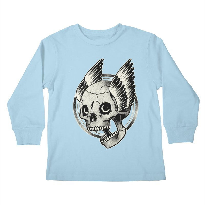 Skull Wings Kids Longsleeve T-Shirt by blackboxshop's Artist Shop