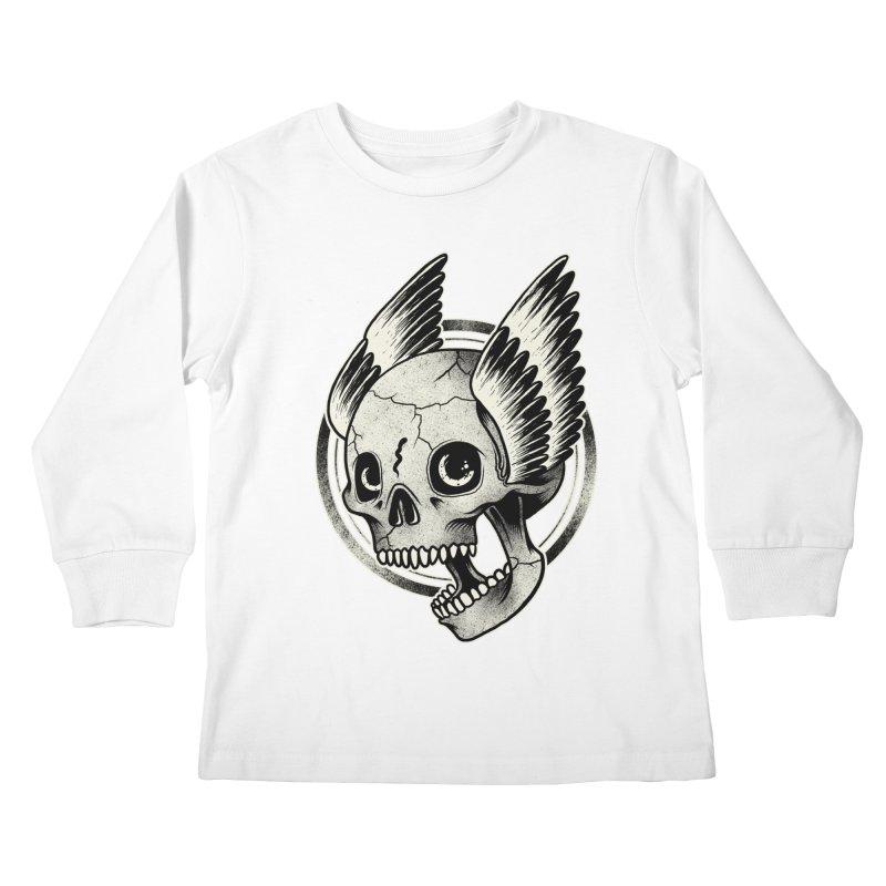 Skull Wings Kids Longsleeve T-Shirt by blackboxshop's Artist Shop