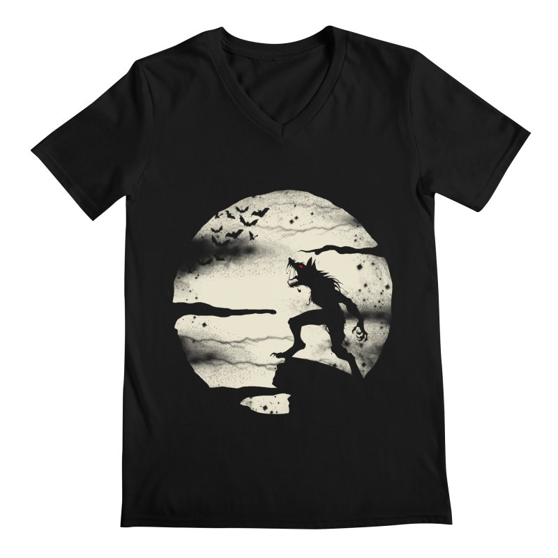 Werewolf fullmoon  Men's V-Neck by blackboxshop's Artist Shop