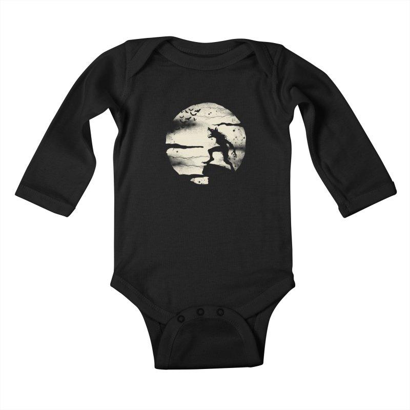 Werewolf fullmoon  Kids Baby Longsleeve Bodysuit by blackboxshop's Artist Shop