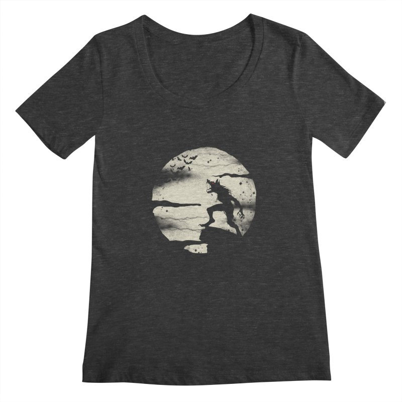 Werewolf fullmoon  Women's Scoopneck by blackboxshop's Artist Shop