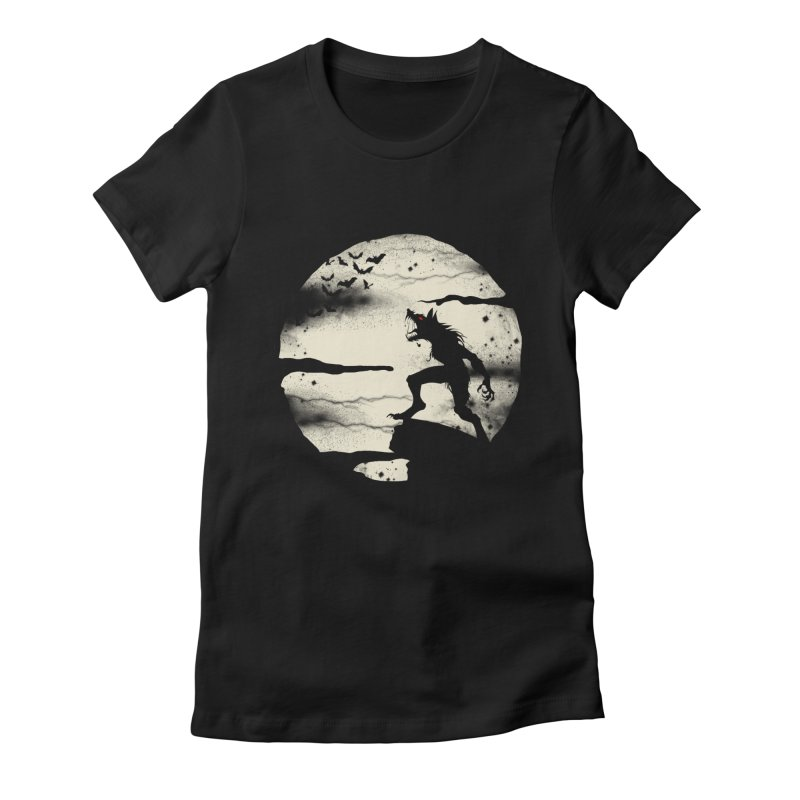 Werewolf fullmoon  Women's Fitted T-Shirt by blackboxshop's Artist Shop