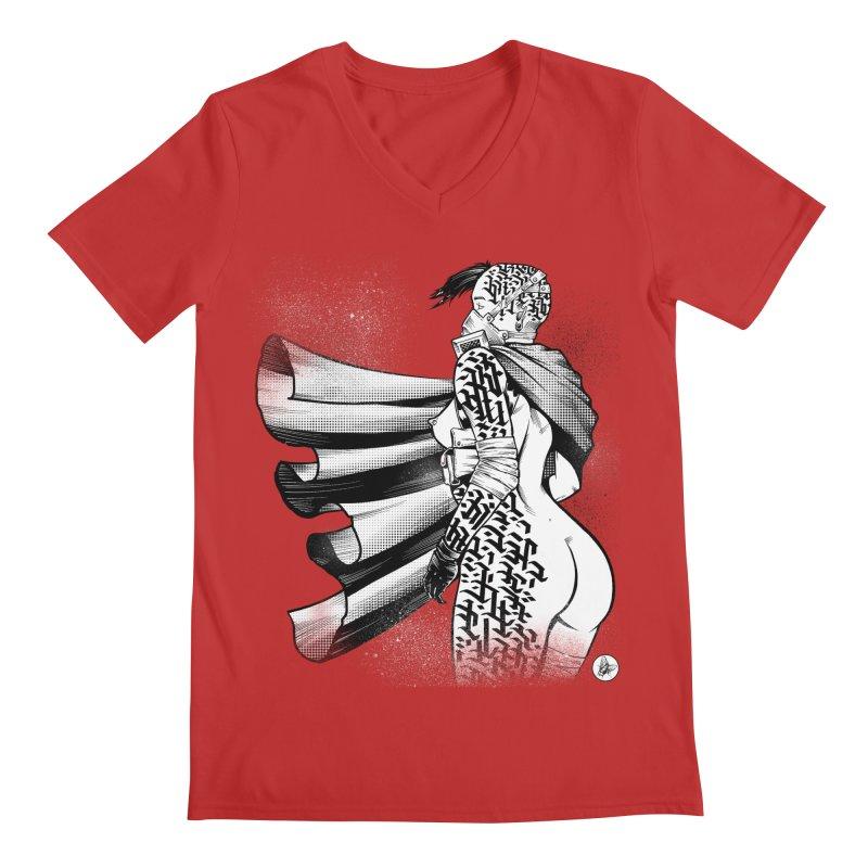 Hieroglyphic Grrl Men's V-Neck by Black Fly Press Official Merchandise