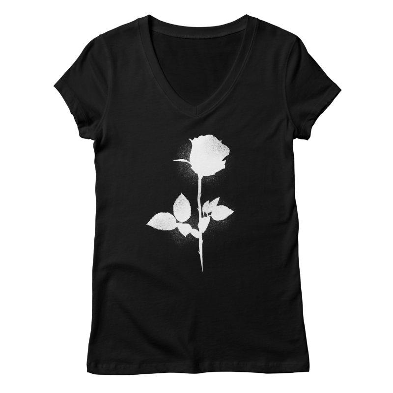Rose (White) Women's V-Neck by Black Fly Press Official Merchandise