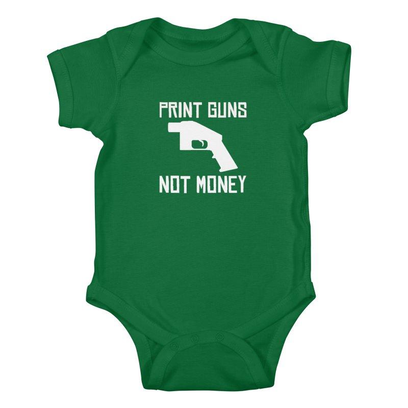 Print Guns Not Money Kids Baby Bodysuit by Black Market Designs