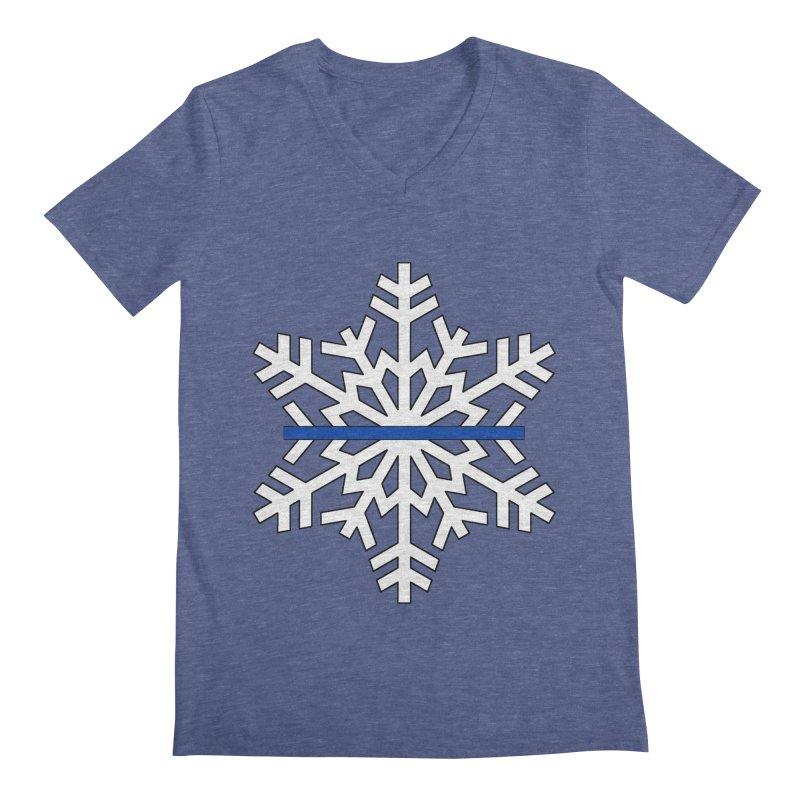 Blue Snowflake Men's V-Neck by Black Market Designs
