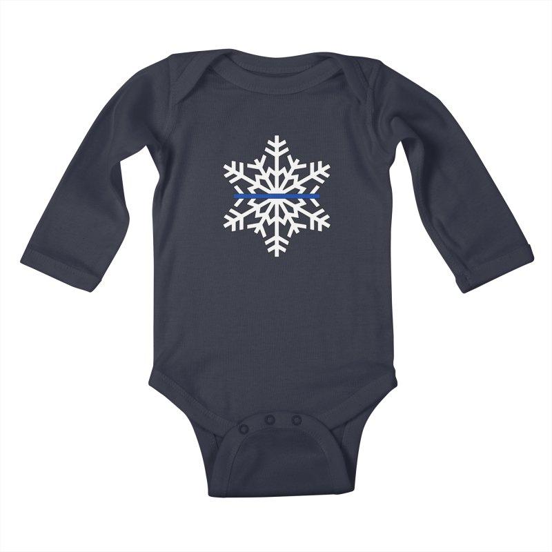 Blue Snowflake Kids Baby Longsleeve Bodysuit by Black Market Designs