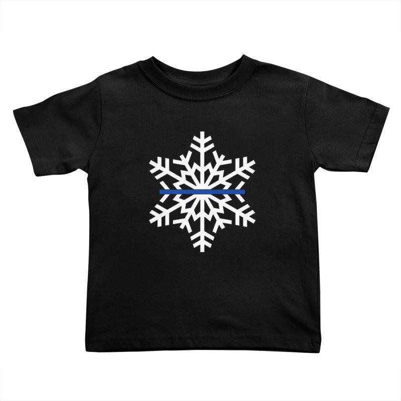 Blue Snowflake Kids Toddler T-Shirt by Black Market Designs