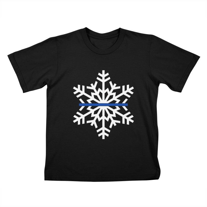 Blue Snowflake Kids T-Shirt by Black Market Designs