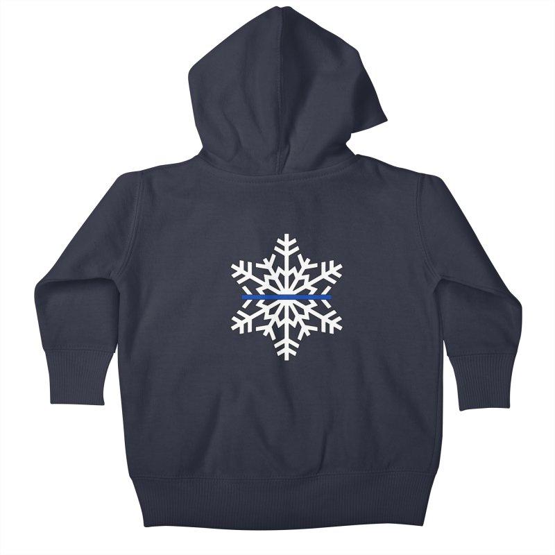 Blue Snowflake Kids Baby Zip-Up Hoody by Black Market Designs