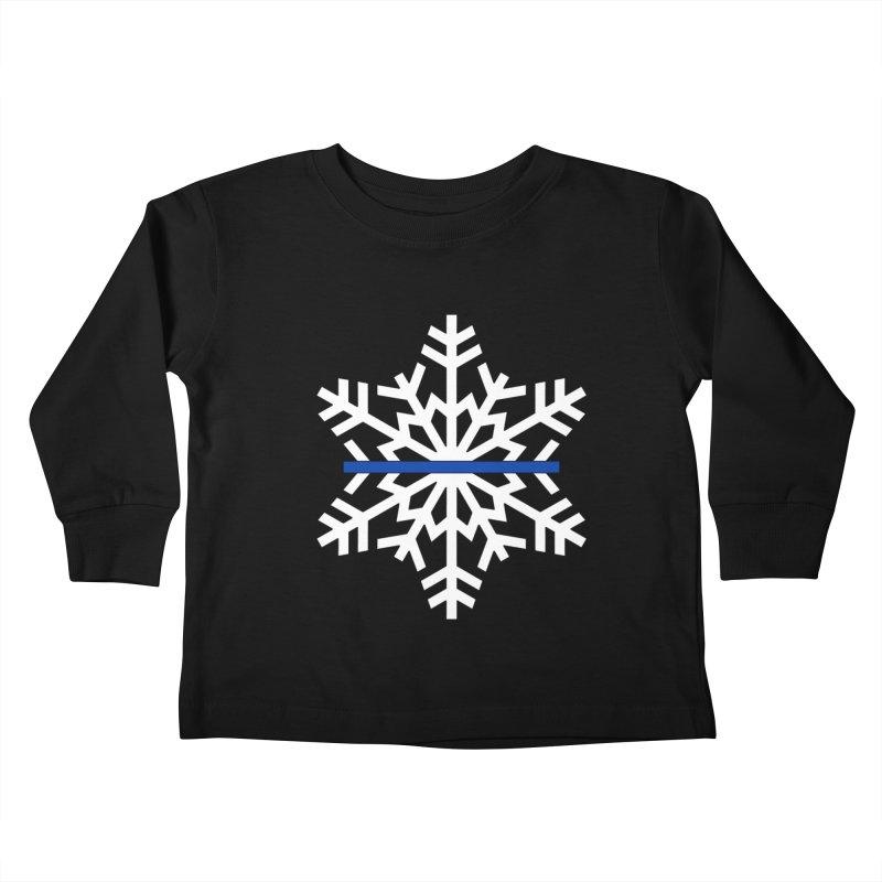 Blue Snowflake Kids Toddler Longsleeve T-Shirt by Black Market Designs