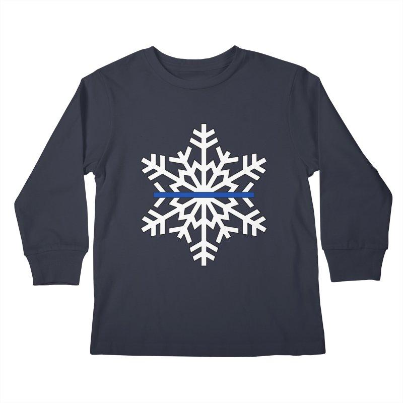 Blue Snowflake Kids Longsleeve T-Shirt by Black Market Designs