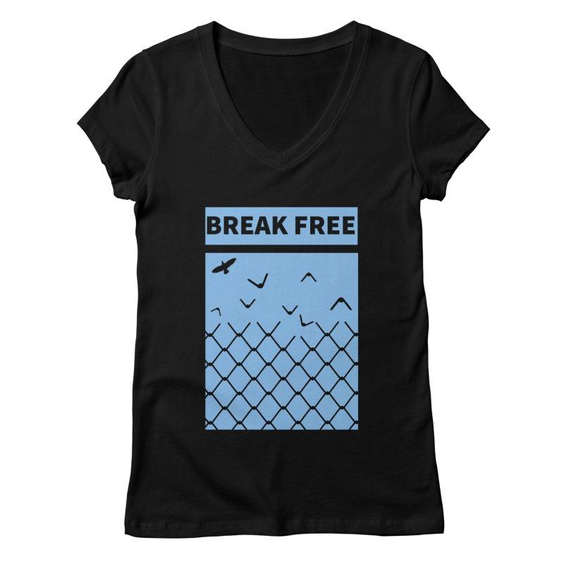 Break Free Women's V-Neck by Black Market Designs