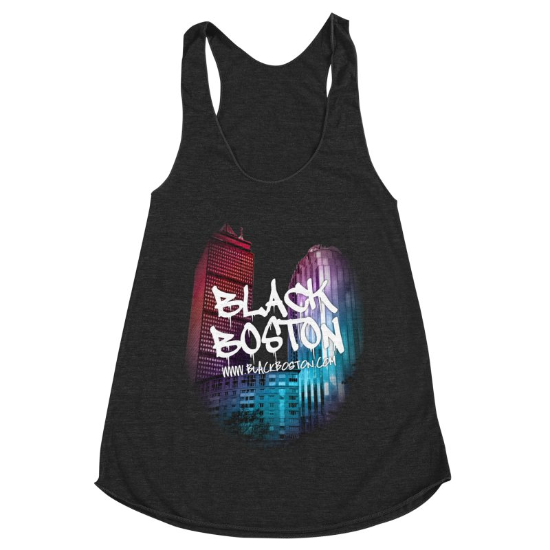 Black Boston Classic U Purple Women's Racerback Triblend Tank by Shop.BlackBoston.com