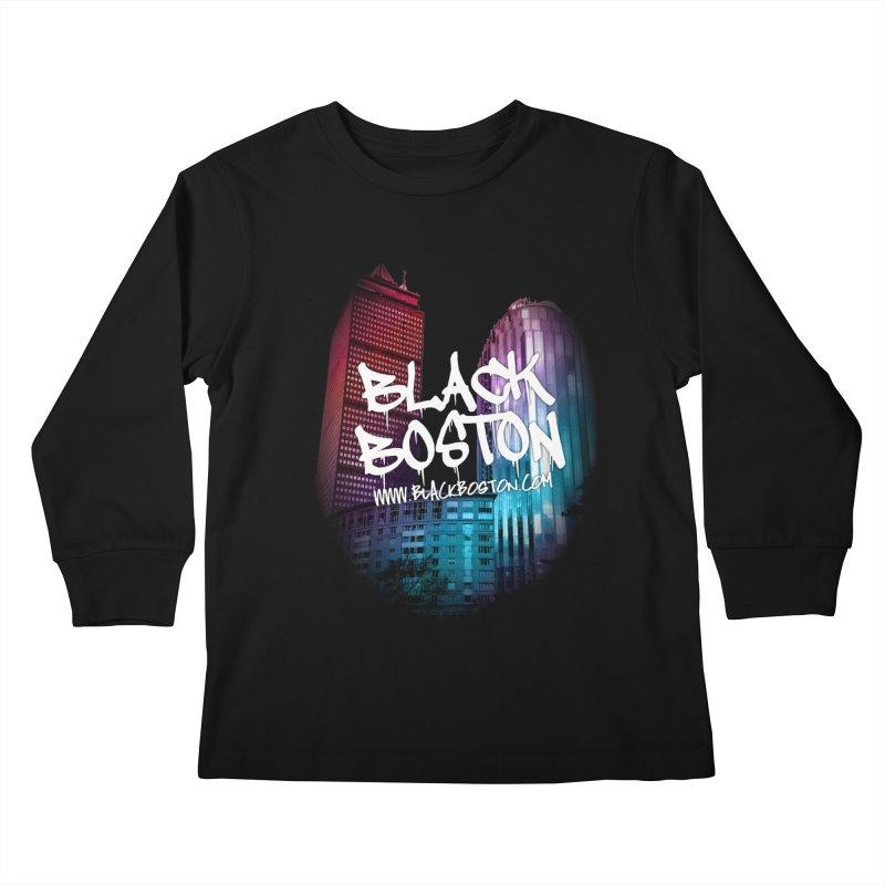 Black Boston Classic U Purple Kids Longsleeve T-Shirt by Shop.BlackBoston.com