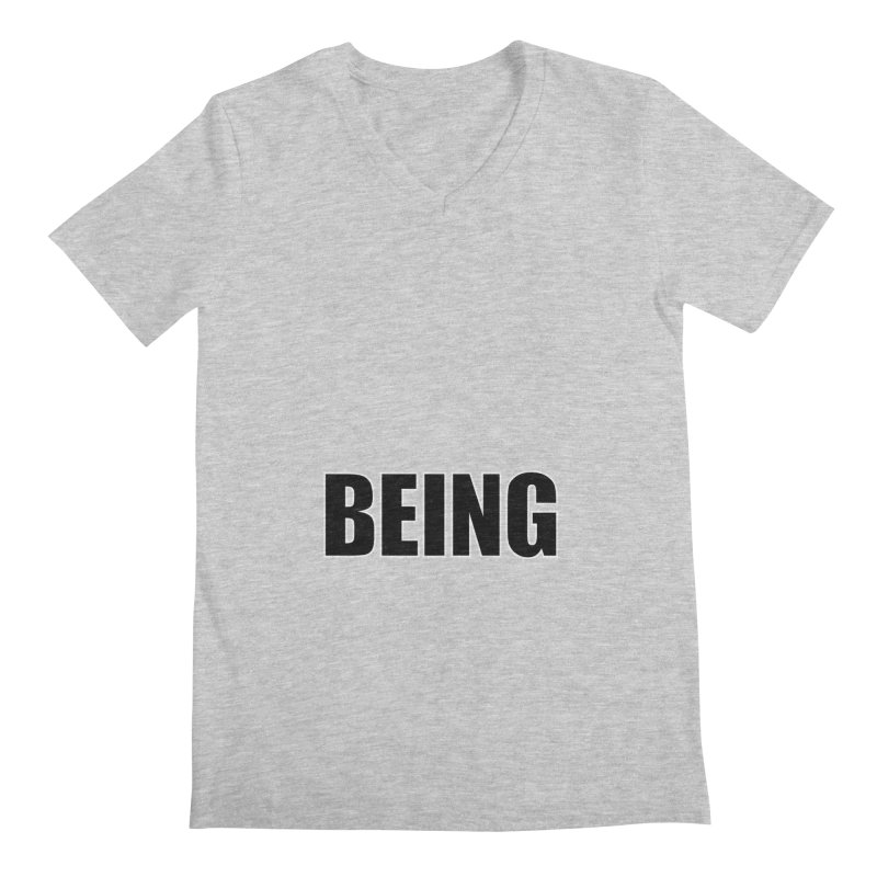 Being Men's Regular V-Neck by Black Text On Tee