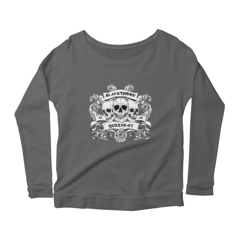3 skulls Women's Longsleeve Scoopneck  by blackthorn51 Apparel