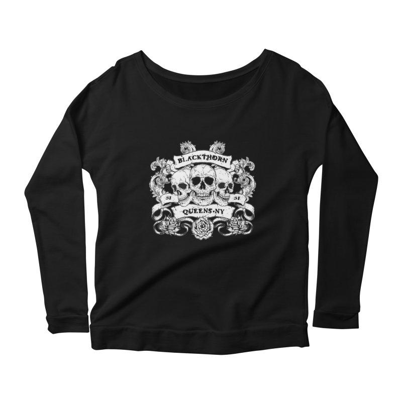 3 skulls Women's Longsleeve Scoopneck  by blackthorn51 Apparel