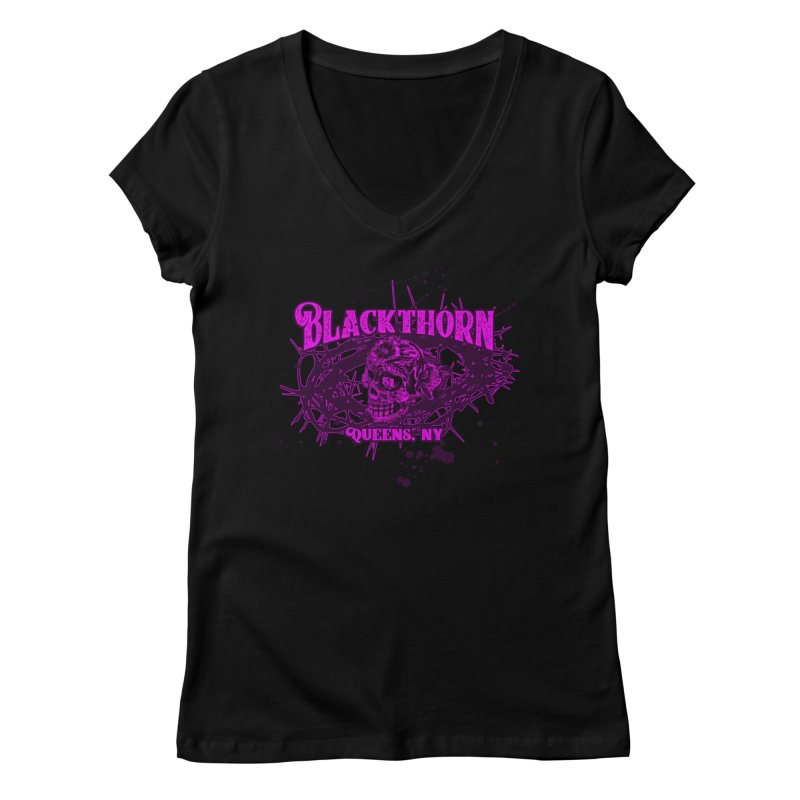 Blackthorn 51 Purple splatter Women's Regular V-Neck by blackthorn51 Apparel