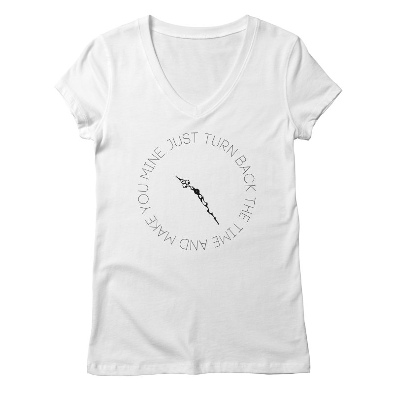 Just Turn Back The Time Women's Regular V-Neck by blacktiestereo's Artist Shop