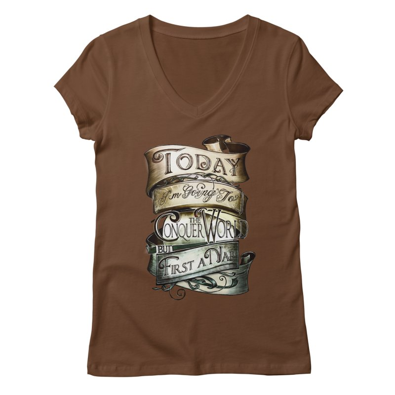 to conquer the world Women's Regular V-Neck by blancajp's Artist Shop