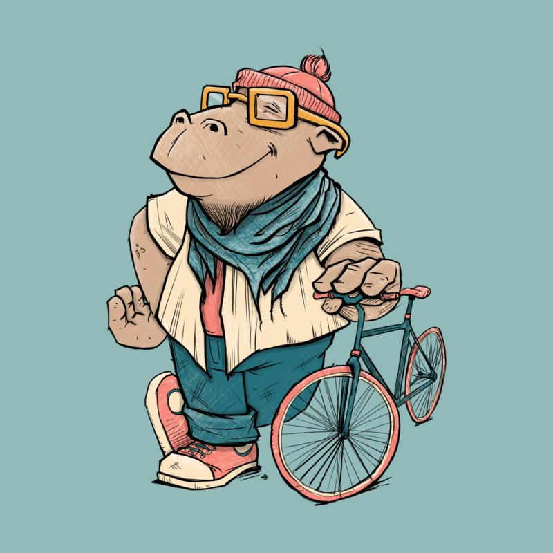 Hipster Hippo Home Framed Fine Art Print by blancajp's Artist Shop