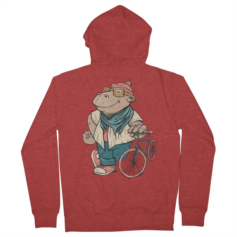 Hipster Hippo Women's French Terry Zip-Up Hoody by blancajp's Artist Shop