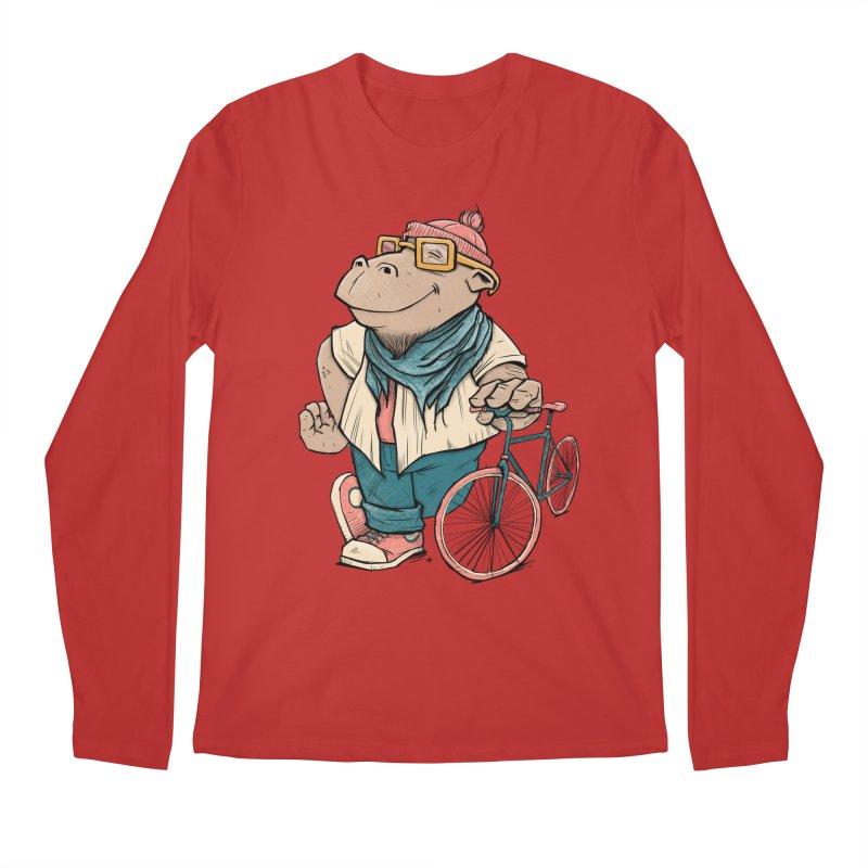 Hipster Hippo Men's Regular Longsleeve T-Shirt by blancajp's Artist Shop