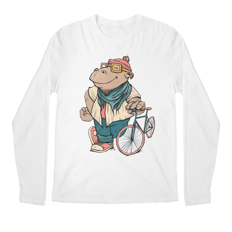 Hipster Hippo Men's Regular Longsleeve T-Shirt by blancajp's Artist Shop