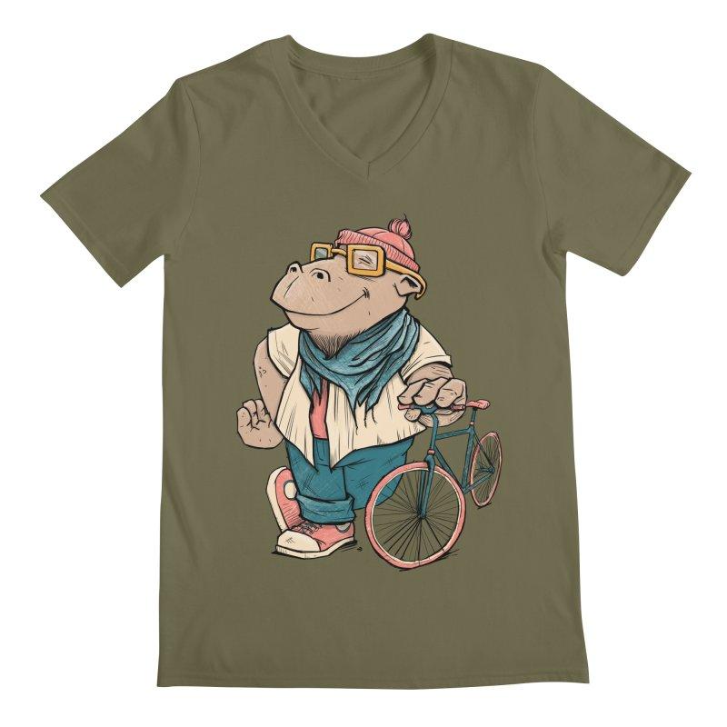Hipster Hippo Men's V-Neck by blancajp's Artist Shop