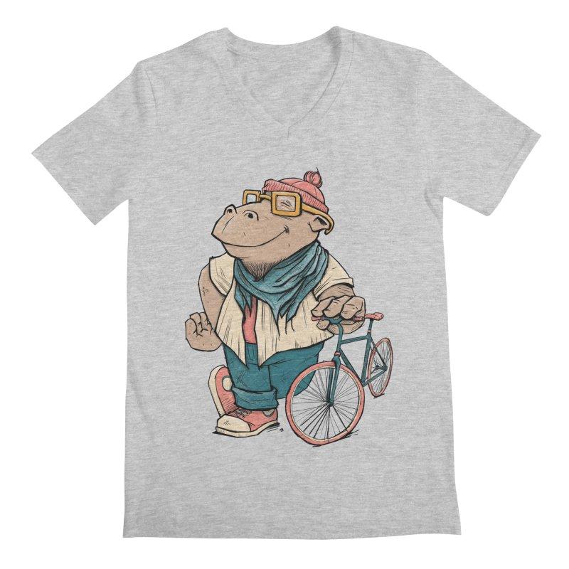 Hipster Hippo Men's Regular V-Neck by blancajp's Artist Shop