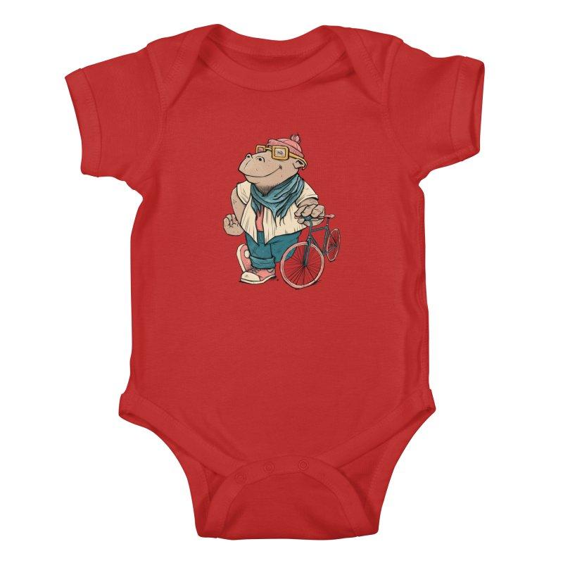 Hipster Hippo Kids Baby Bodysuit by blancajp's Artist Shop