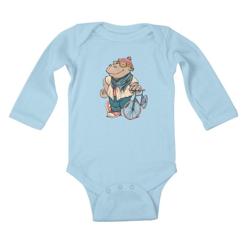 Hipster Hippo Kids Baby Longsleeve Bodysuit by blancajp's Artist Shop