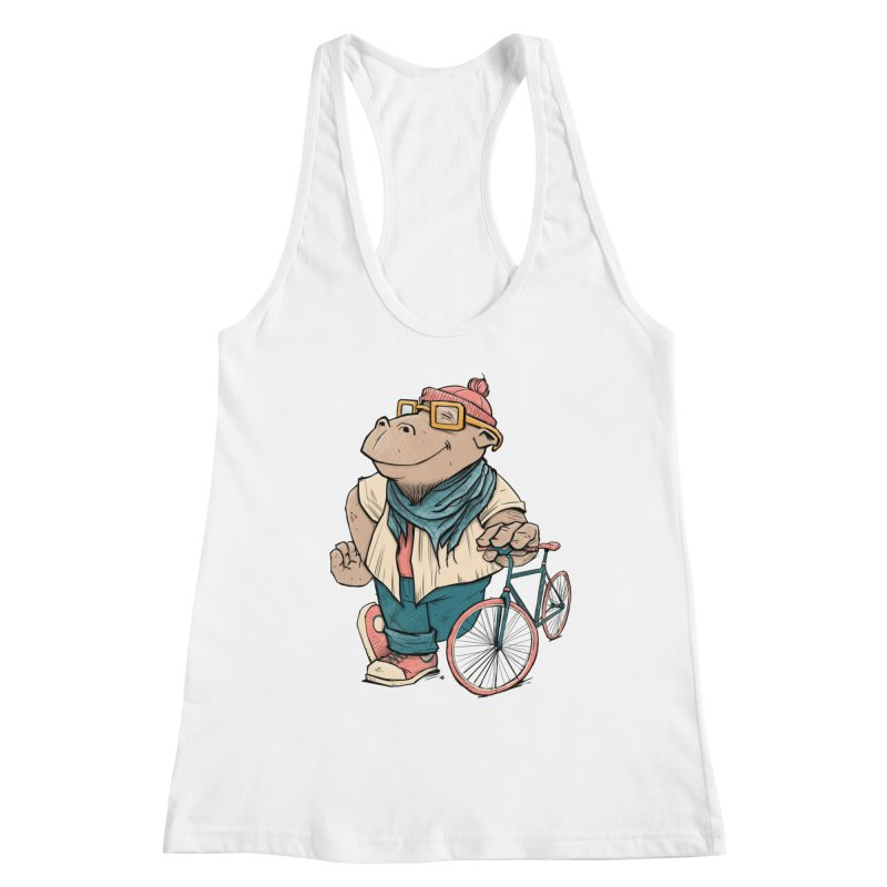Hipster Hippo Women's Racerback Tank by blancajp's Artist Shop