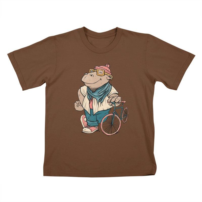 Hipster Hippo Kids T-shirt by blancajp's Artist Shop