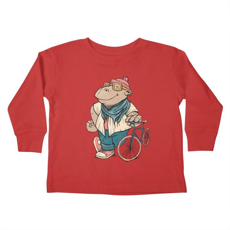 Hipster Hippo Kids Toddler Longsleeve T-Shirt by blancajp's Artist Shop