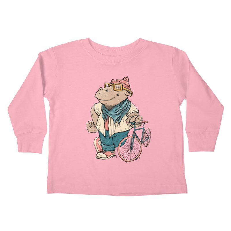 Hipster Hippo Kids Toddler Longsleeve T-Shirt by blancajp's Artist Shop