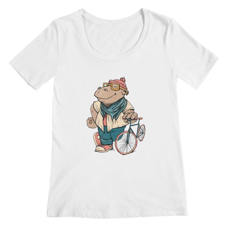 Hipster Hippo Women's Scoopneck by blancajp's Artist Shop