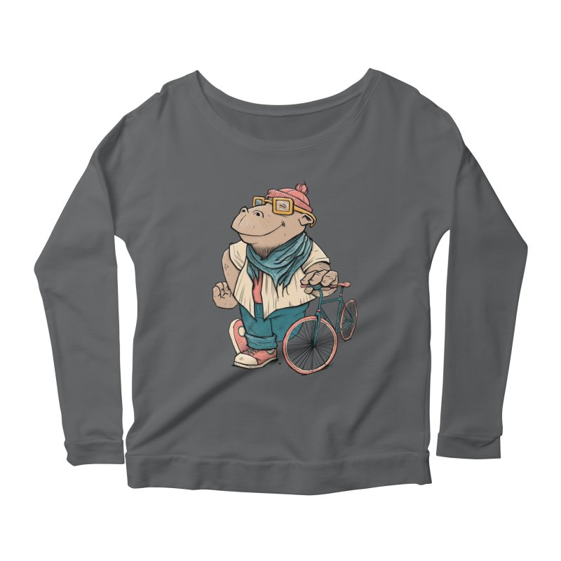 Hipster Hippo Women's Scoop Neck Longsleeve T-Shirt by blancajp's Artist Shop