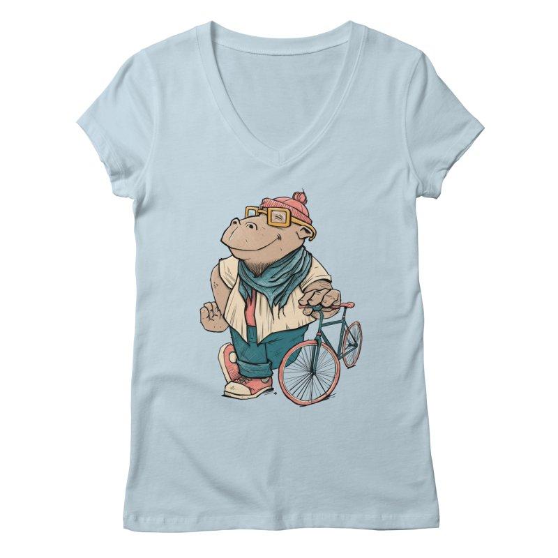 Hipster Hippo Women's Regular V-Neck by blancajp's Artist Shop