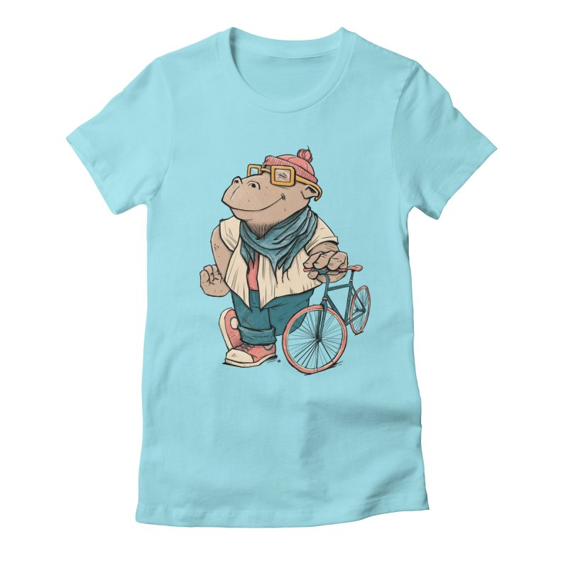 Hipster Hippo Women's Fitted T-Shirt by blancajp's Artist Shop