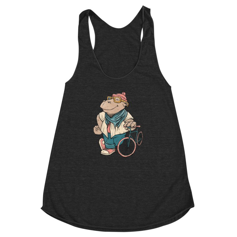 Hipster Hippo Women's Racerback Triblend Tank by blancajp's Artist Shop