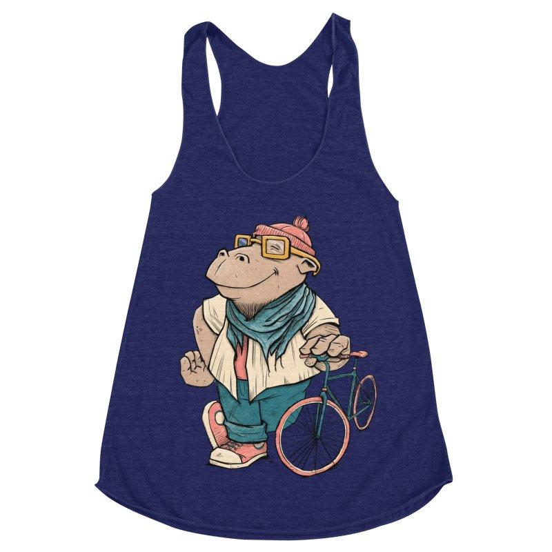 Hipster Hippo Women's Racerback Triblend Tank by blancajp's Artist Shop