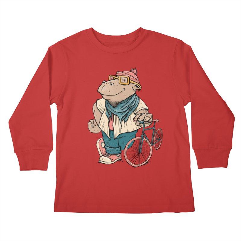 Hipster Hippo Kids Longsleeve T-Shirt by blancajp's Artist Shop