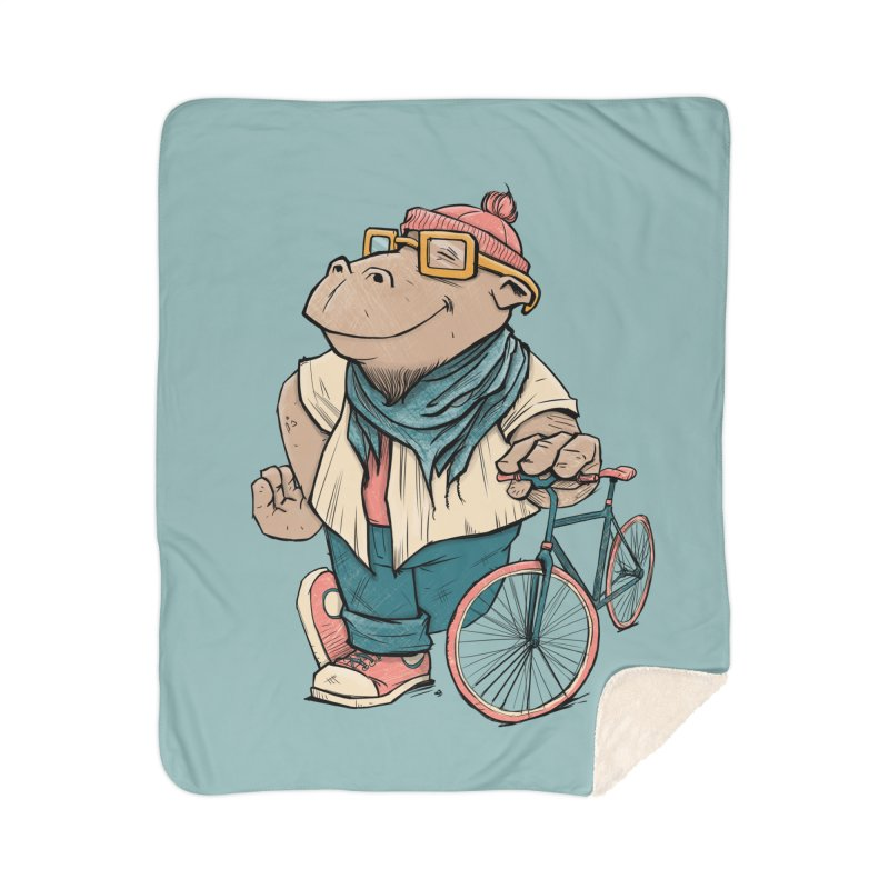Hipster Hippo Home Sherpa Blanket Blanket by blancajp's Artist Shop